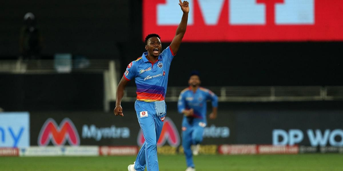 DelhiCapitals' Kagiso Rabada celebrates after taking a wicket against an IPL 2020 match against Royal Challengers Bangalore