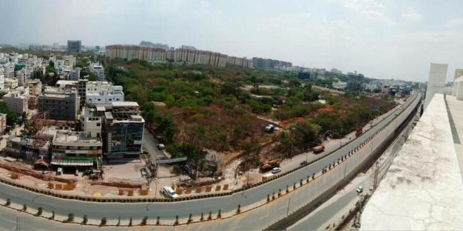 Deserted look of Gachibowli flyover in Hyderabad during COVID-19 lockdown