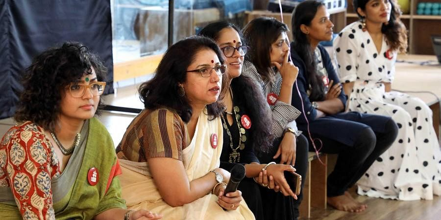 (From Left) Actors Parvathy, Revathy, Sajitha Madathil, Geethu Mohan Das and Rima Kallingal during the one year celebrations of the WCC in Kochi