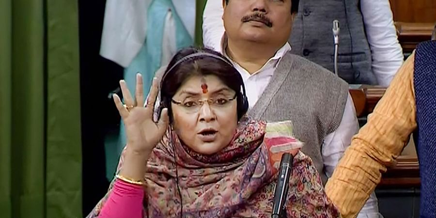 BJP MP from Hooghly Locket Chatterjee speaks in the Lok Sabha during the Budget Session of Parliament in New Delhi