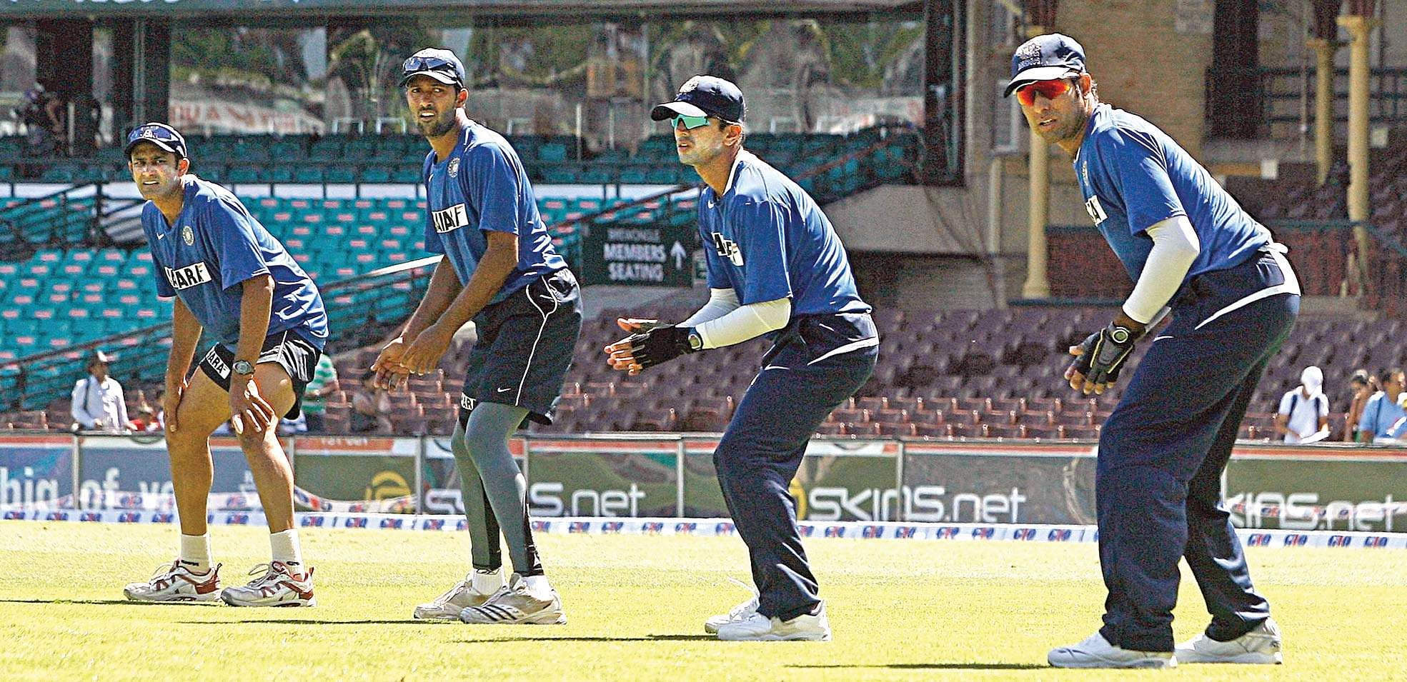 Anil Kumble (L), Wasim Jaffer (2nd L), Rahul Dravid (2nd R) and V. V. S. Laxman (R) watch the ball during a training session at the Sydney Cricket Ground (SCG).