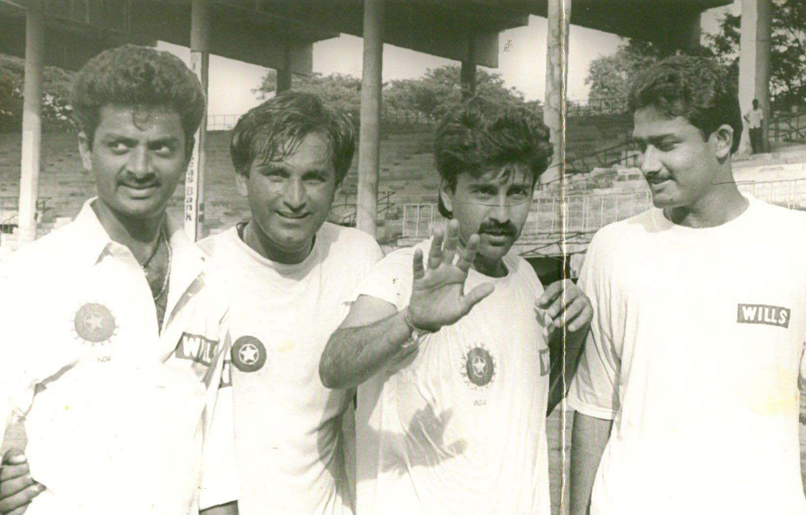 Indian spin legend Anil Kumble turns 50 today. Kumble was an indispensable part of the Indian cricket team and his records speak volumes about the talent of this leg spinner. On his birthday, we take a nostalgic trip through our archives to relive some of the rare and best moments of Anil Kumble. (From left to right) Venkatapathy Raju, Rajesh Chowhan, Manoj Prabhakar and Anil Kumble)