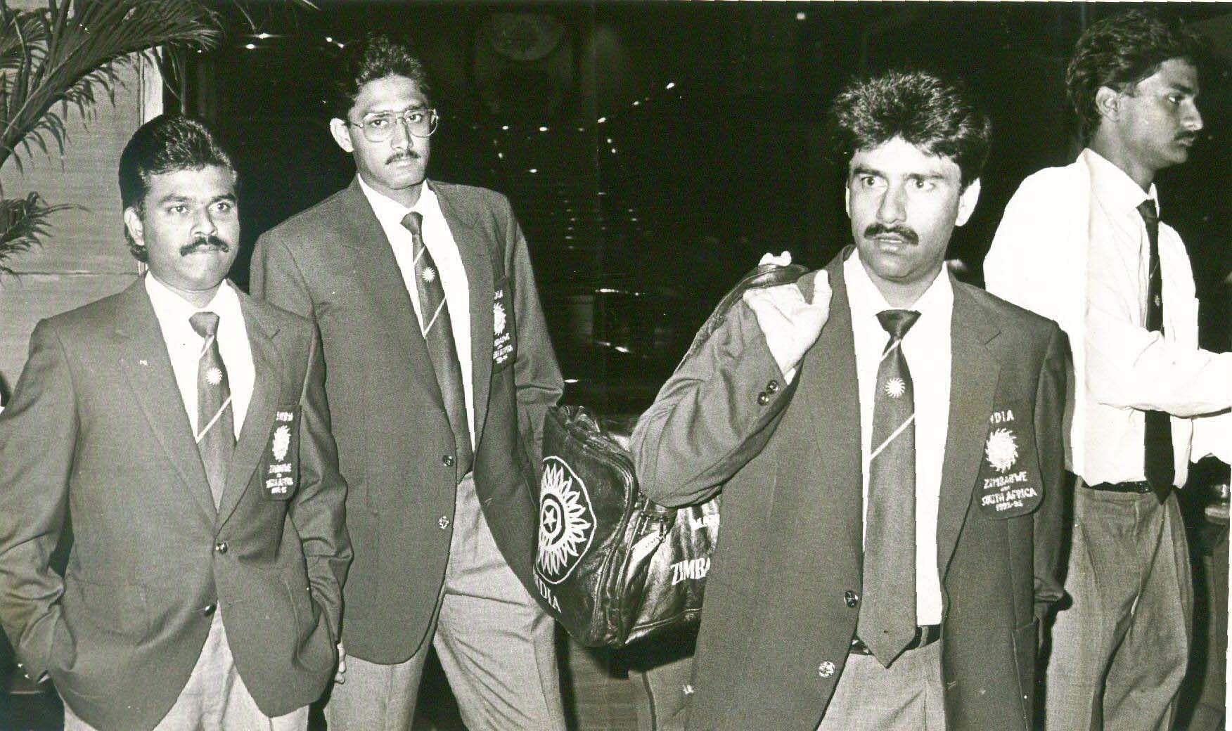 Praveen Amre with Anil Kumble, Manoj Prabhakar and Srinanth.
