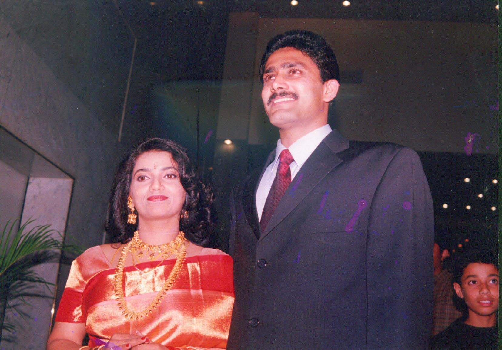 Former Indian cricketer Anil Kumble and his wife Chetana.