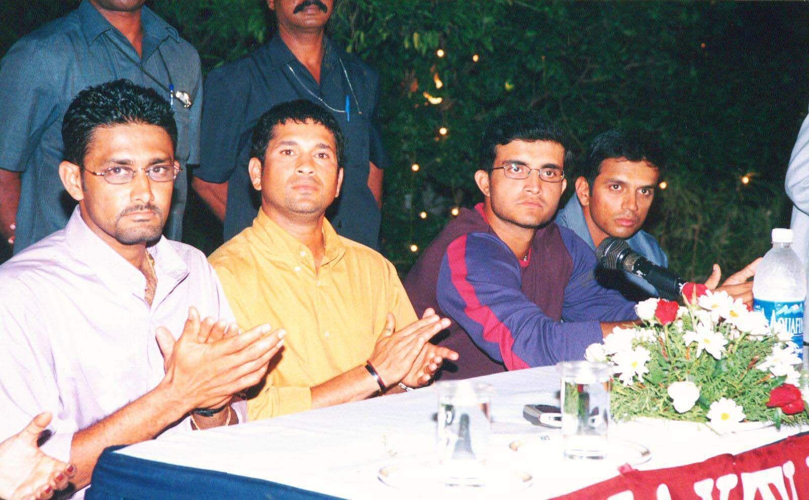 Former Indian cricketers Anil Kumble, Sachin Tendulkar, Saurav Ganguly and Rahul Dravid.