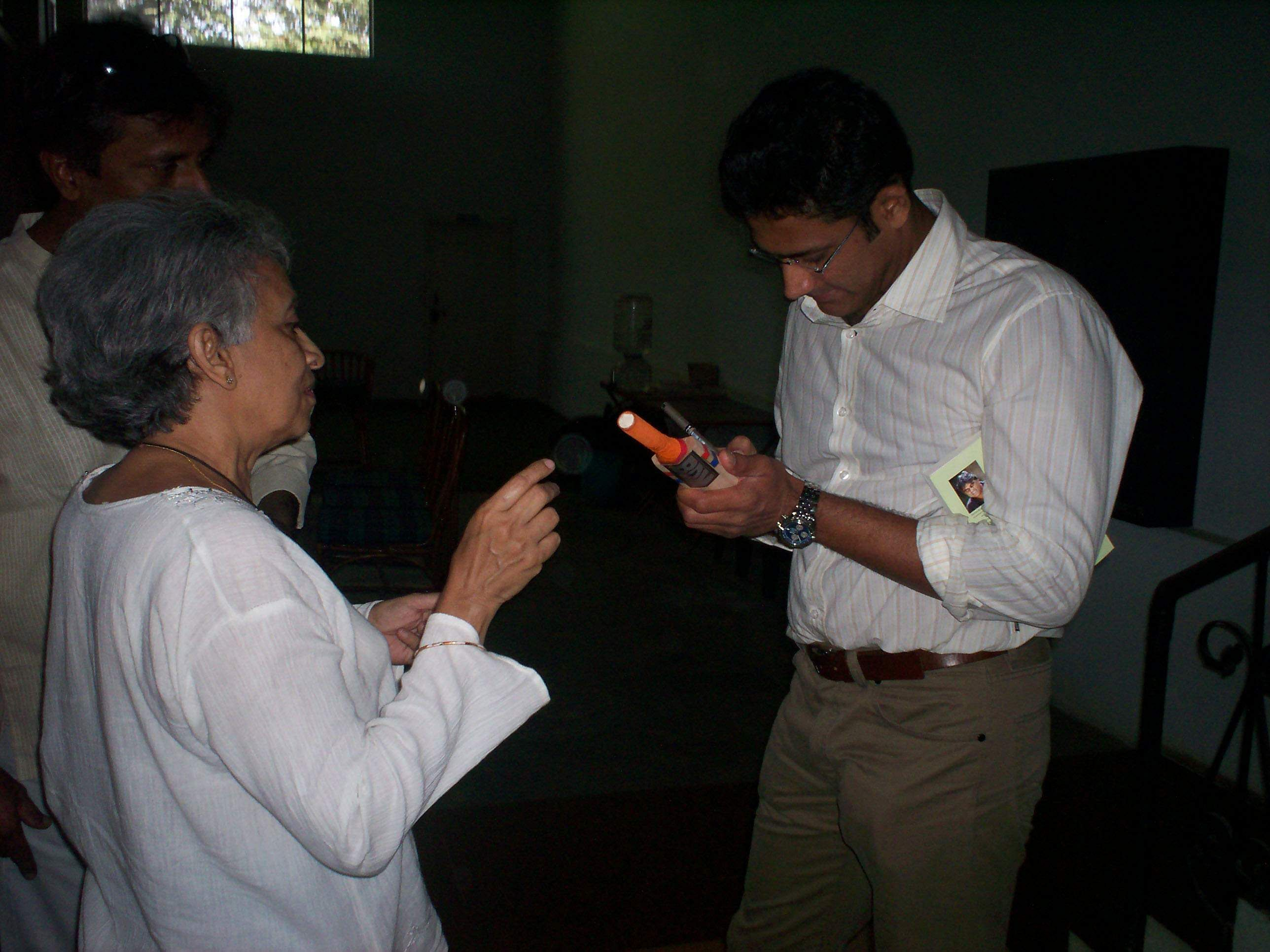 Anil Kumble signs an autograph during his visit to Hyderabad.