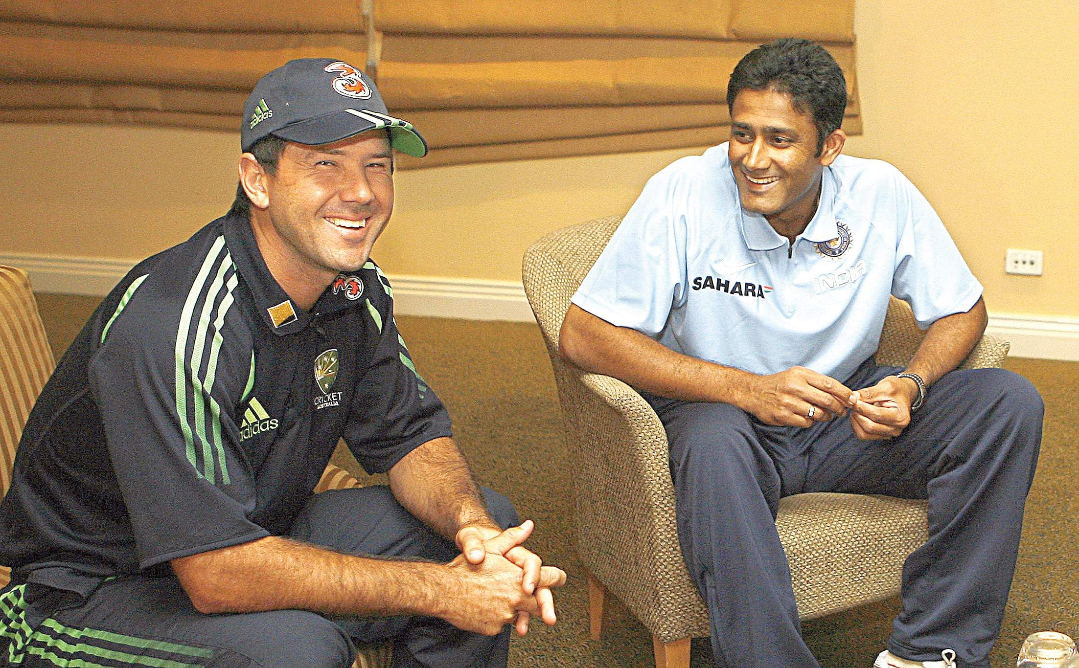Then India team cricket captain Anil Kumble and his Australian counterpart Ricky Ponting sit down at Perth, Australia in an effort to mend strained relations between the teams in 2008.