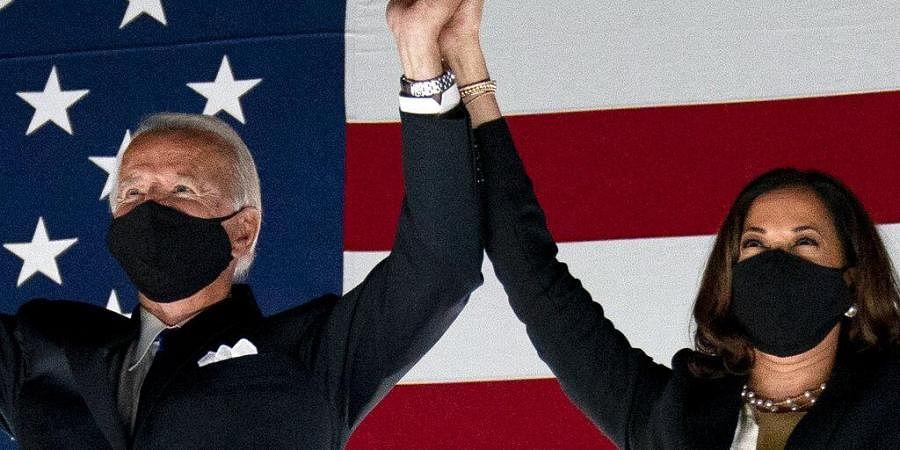 Democratic presidential candidate former Vice President Joe Biden and his running mate Sen. Kamala Harris (Photo   AP)