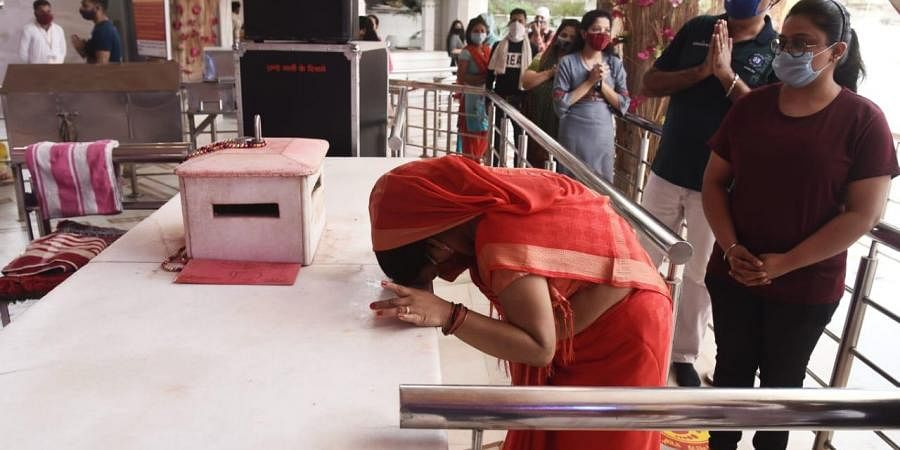 Devotees offer prayers on the first day of Navratri in New Delhi.