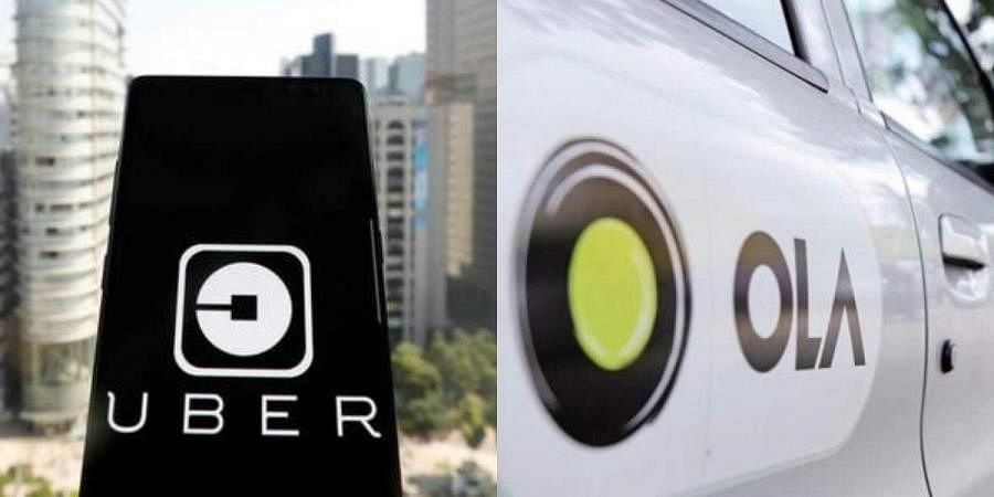 Uber app (L) and Ola cabs