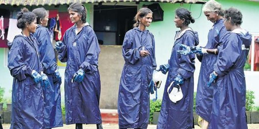 Female rag-pickers part of The Body Shop's Project N.A.R.I and Plastics for Change