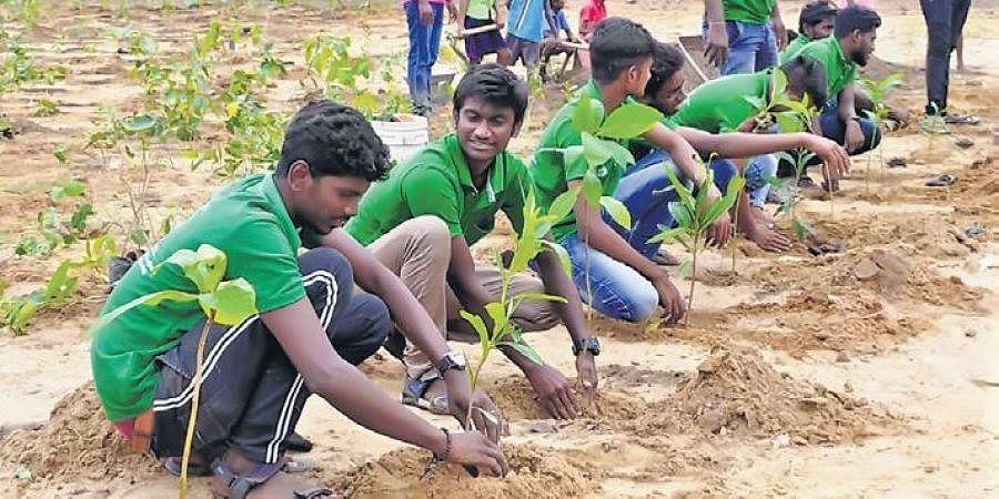 Volunteers of Vanam planting saplings to create a Miyawaki forest  in Thanjavur