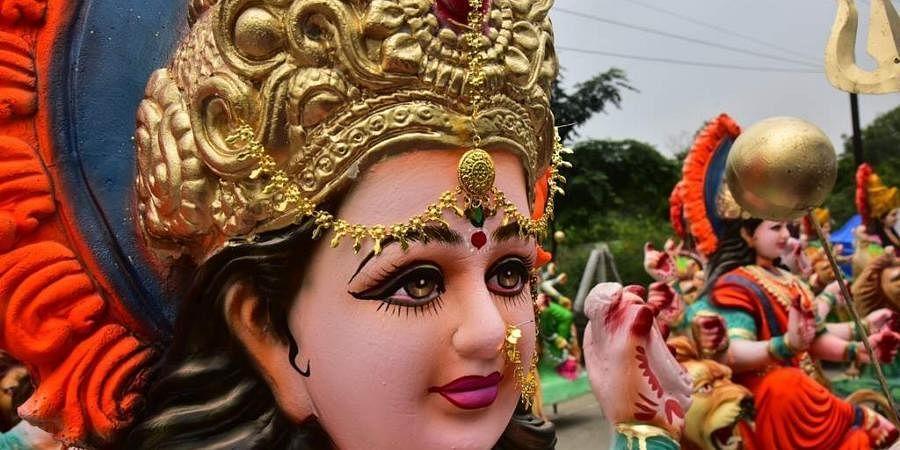 Goddess Durga idols displayed for the Durga Puja.