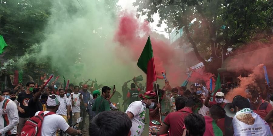 Many Mohun Bagan fans were even seen without the mandatory masks as they danced on the streets.