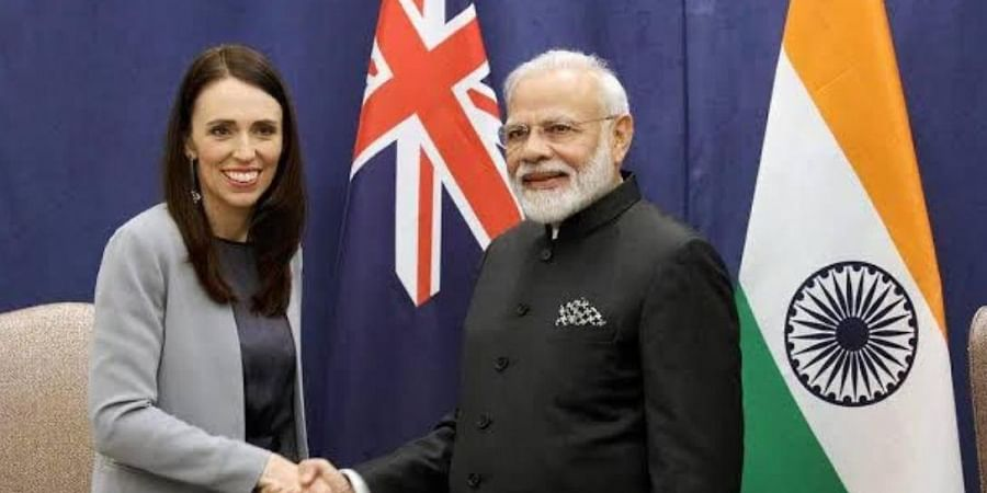 Prime Minister Narendra Modi with New Zealand counterpart Jacinda Ardern (L). (Photo | Narendra Modi Official Twitter)