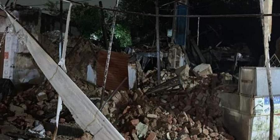 The scene of wall collapse from Mangalhat in Hyderabad's Old City
