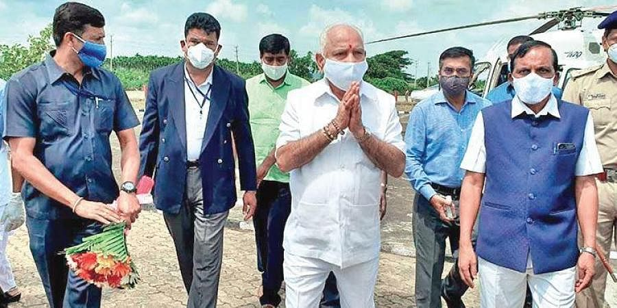 Chief Minister B S Yediyurappa arrives in Shikaripura on Sunday. He assured people that the PM will provide relief.