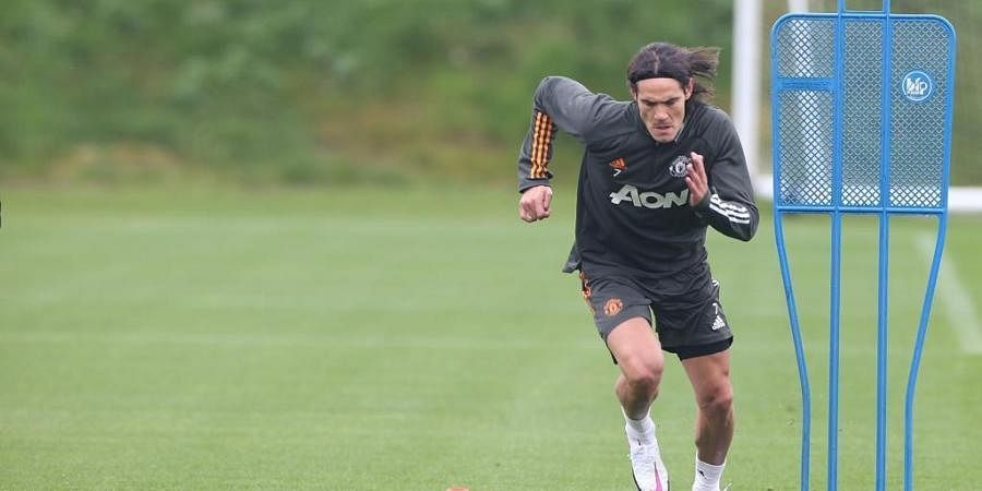 Manchester United's Edinson Cavani during a practice session. (Twitter Photo)