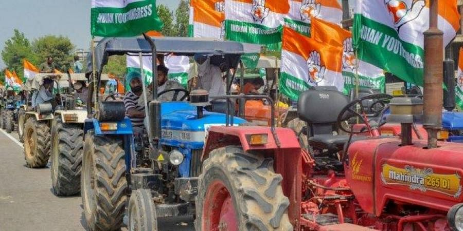 Congress on Friday held a daylong protest against the Centre's farm laws
