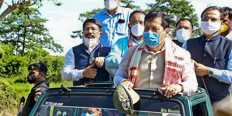 Assam CM Sarbananda Sonowal during a jeep safari inside the Kaziranga National Park after it was re-opened for visitors.