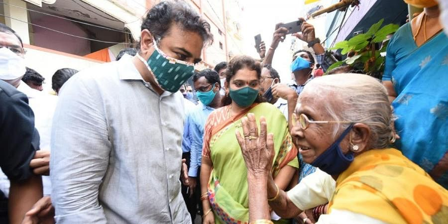 MAUD Minister KT Rama Rao visiting one of the flood-affected areas in Hyderabad on Wednesday
