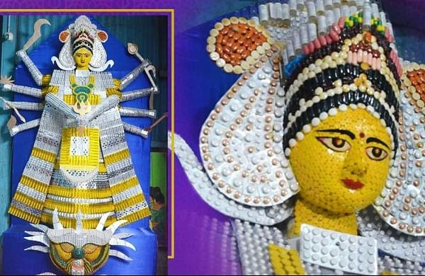Assam artist creates Durga idol with expired medicines, injection vials to mark COVID impact