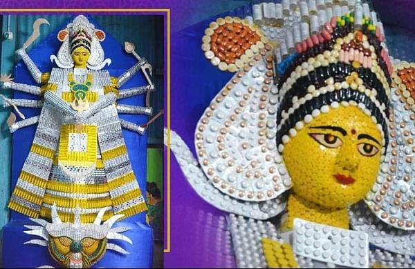 Assam artist creates Durga idol withexpired medicines, injection vials to mark COVID impact