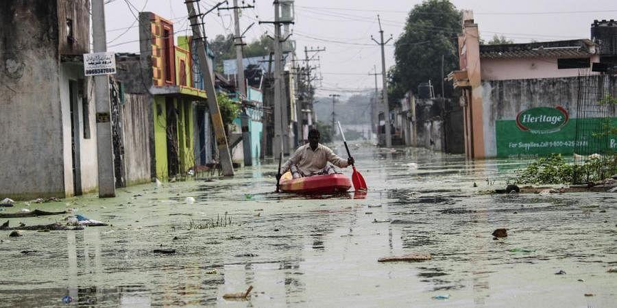 Osman Nagar submerged in rainwater in Hyderabad