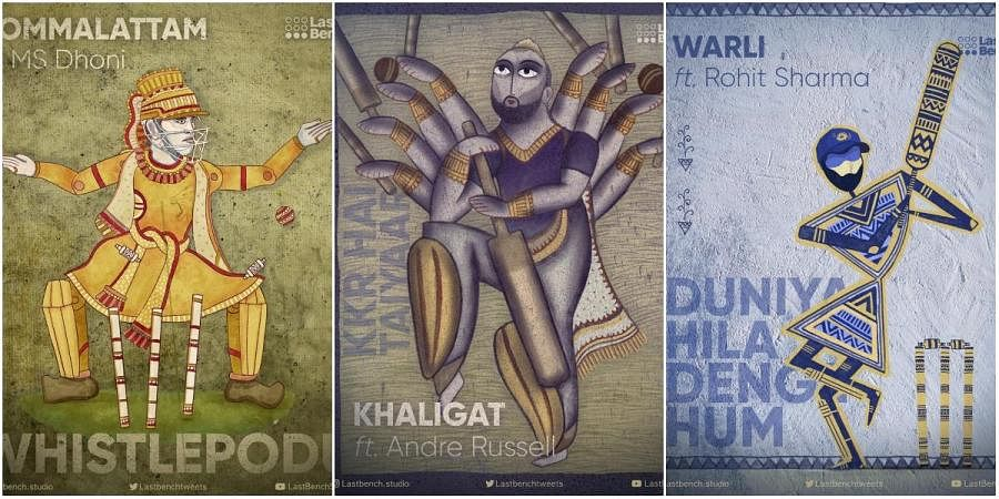 (From left) Bommalattam, Kalighat and Warli paintings in the form of IPL players