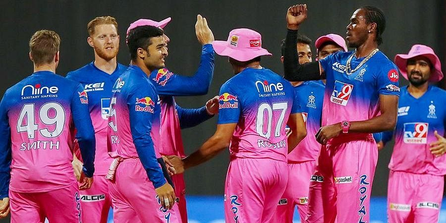 Rajasthan Royals players celebrate the wicket of Chennai Super Kings batsman Faf du Plessis during the IPL 2020 match at Sheikh Zayed Stadium in Abu Dhabi.