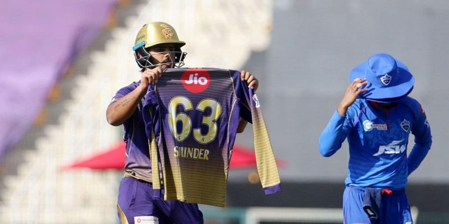 Nitish Rana of Kolkata Knight Riders dedicates his fifty to his late father-in-law.