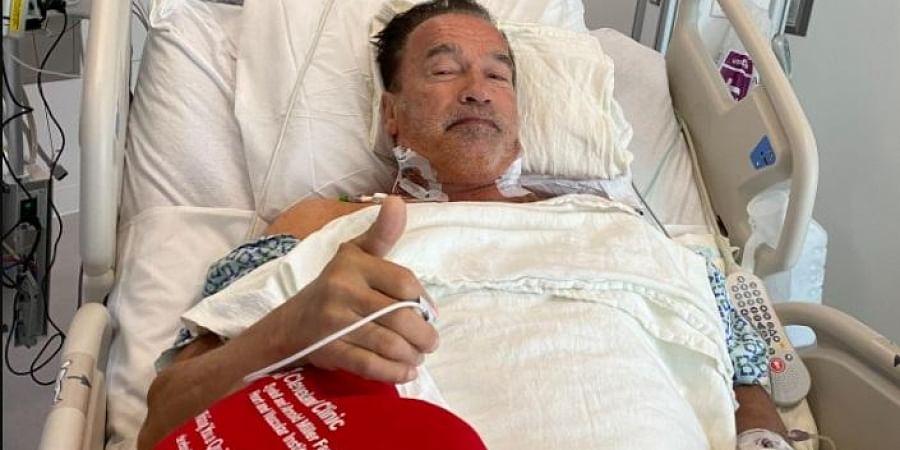 Arnold Schwarzenegger post-op at the hospital.