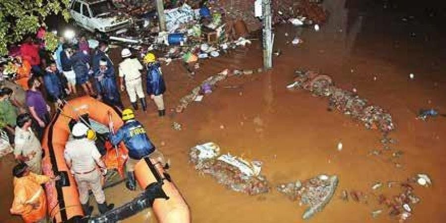 NDRF rescues stranded residents in waterlogged Dattatreya Layout.