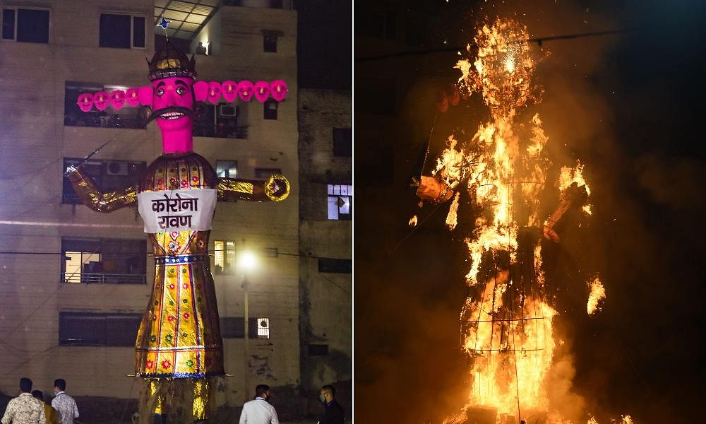 A corona effigy of demon King Ravana before (L) and after burning (R) during the Dussehra festival in New Delhi
