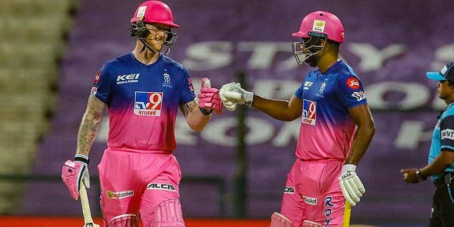 Ben Stokes and Sanju Samson of Rajasthan Royals duringIPL match against Mumbai Indians at the Sheikh Zayed Stadium.