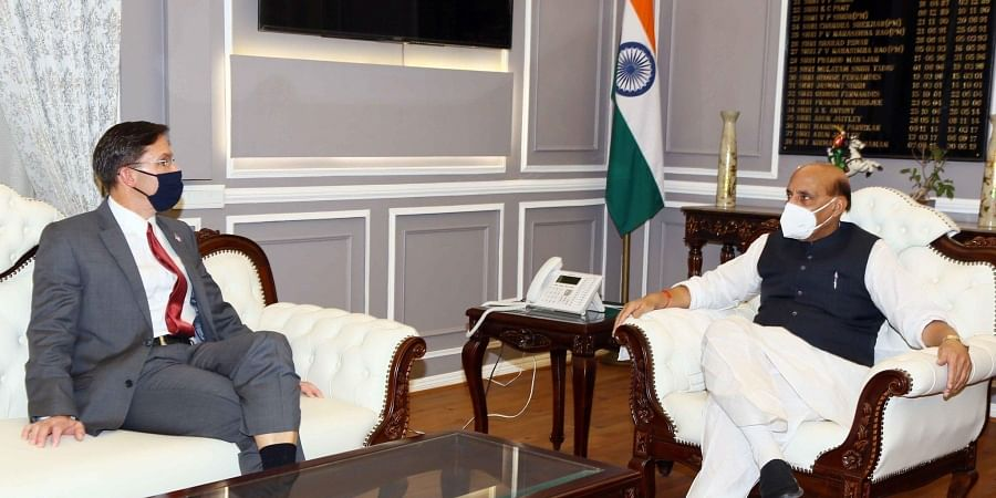 US Secretary of Defence Mark Esper with Defence Minister of India Rajnath Singh.