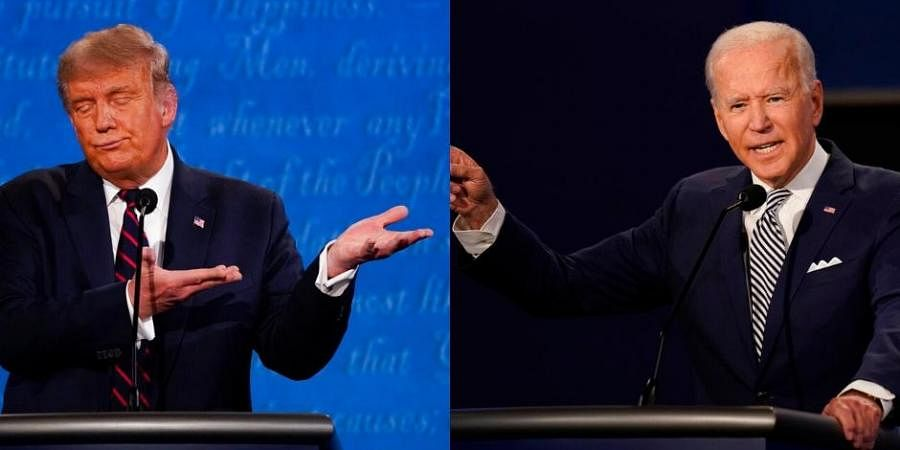 US President Donald Trump (left) and Democratic Party opponent Joe Biden (right) (Photos | AP)