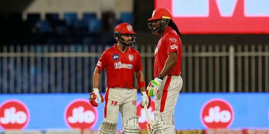 Chris Gayle of Kings XI Punjab and Mandeep Singh of Kings XI Punjab. (Photo | IPL)