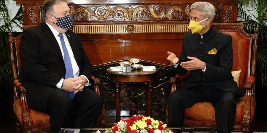 External Affairs Minister S Jaishankar with US Secretary of State Michael Pompeo. (Photo| Twitter)