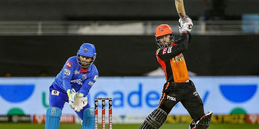 Wriddhiman Saha of Sunrisers Hyderabad plays a shot during IPL match against Delhi Capitals at the Dubai International Cricket Stadium.