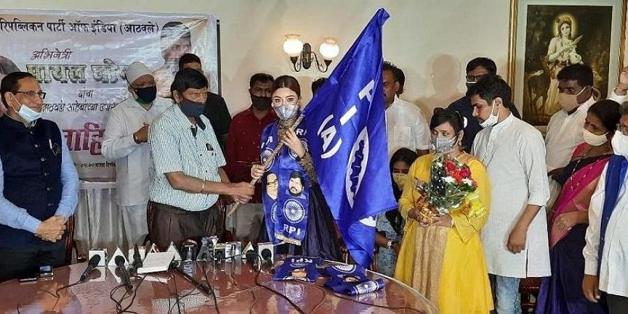 Actor Payal Ghosh joins Union Minister Ramdas Athawale-led Republican Party of India (A), in Mumbai