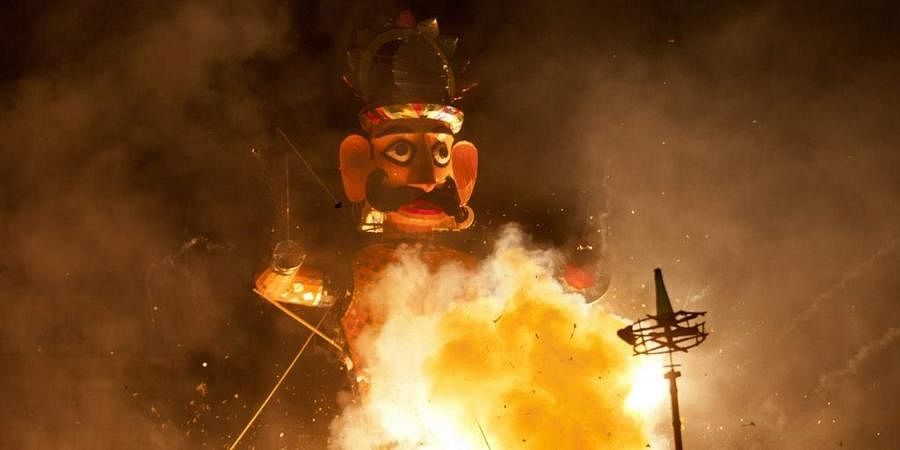 As the effigy of Ravana was being set ablaze on the sprawling ground on Monday evening, the crowd swelled and physical distancing apparently went for a toss.