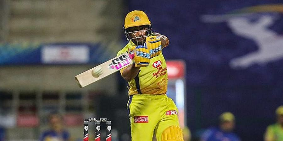 CSK player Ambati Rayudu plays a shot during the first cricket match of IPL 2020 against Mumbai Indians at Sheikh Zayed Stadium.