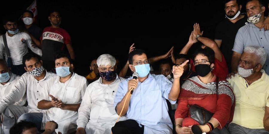 Delhi Chief Minister Arvind Kejriwal at Jantar Mantar during the protests against Hathras gang-rape in New Delhi.