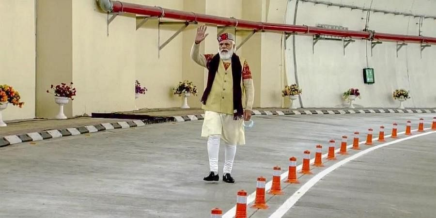 Prime Minister Narendra Modi during the inauguration of Atal tunnel world's longest highway tunnel in Manali Saturday Oct. 3 2020.