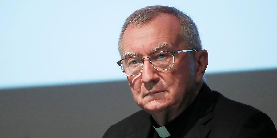 The Vatican secretary of state Cardinal Pietro Parolin attends at the 150th anniversary of the arrival of Catholic missionaries in China from an Italian religious order meeting, in Milan.