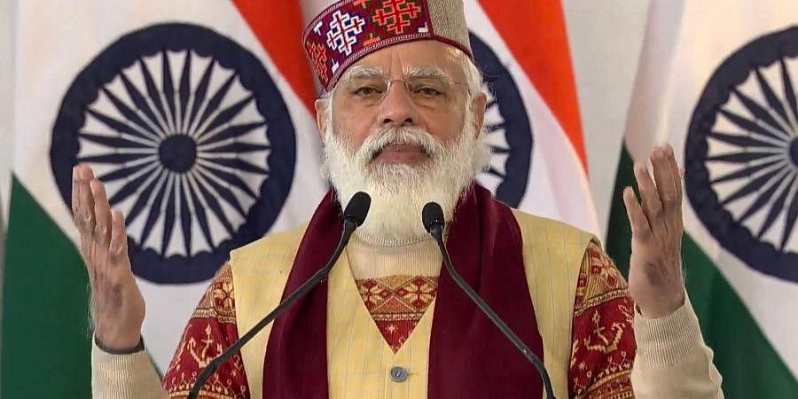 Prime Minister Narendra Modi addresses during the inauguration of Atal tunnel. (Photo| PTI)