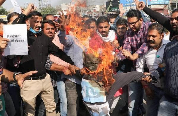 BJP Yuva Morcha holds demonstration in Jammu over Kulgam killings
