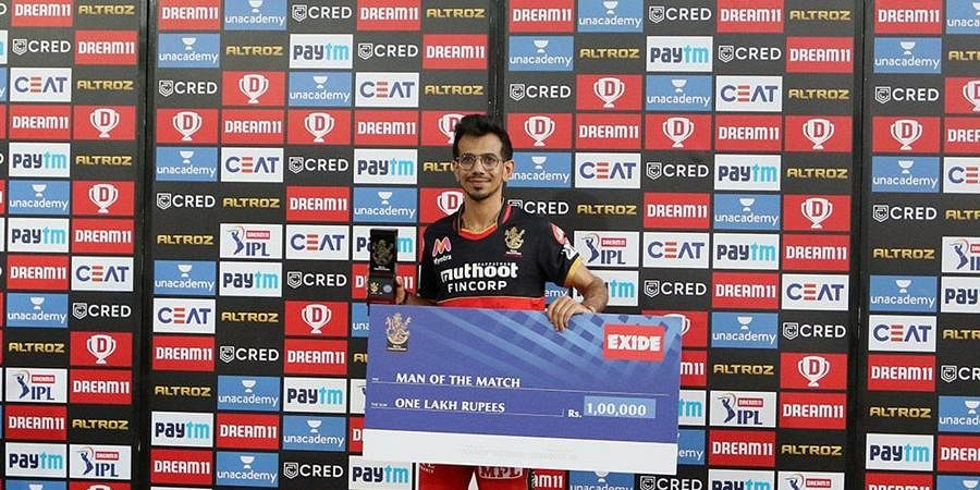 Yuzvendra Chahal of Royal Challengers Bangalore receives the Man of the match during the presentation. (Photo | IPL)