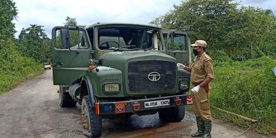 Ambushed Assam Rifles vehicle in Arunachal Pradesh. (Photo  EPS)
